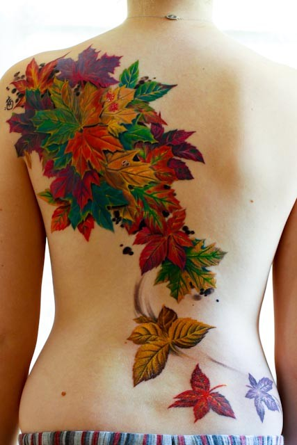 Colorful Leaves Tattoo On Back Body