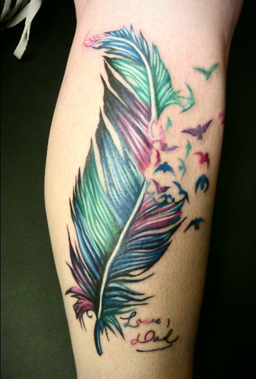 Colorful Mermaid Tattoo Designs On Leg