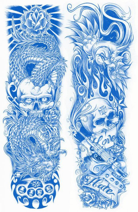 Colorful Nautical Tattoos On Both Sleeves