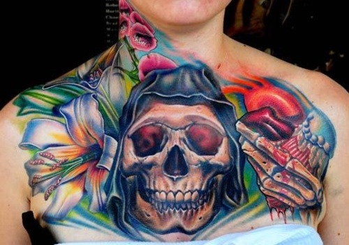 Colorful Neck And Full Chest Tattoos