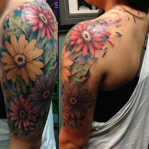 Colorful Orchid Half Sleeve Tattoos