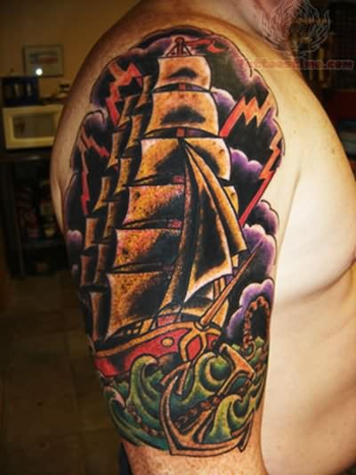 Colorful Pirate Ship Tattoos
