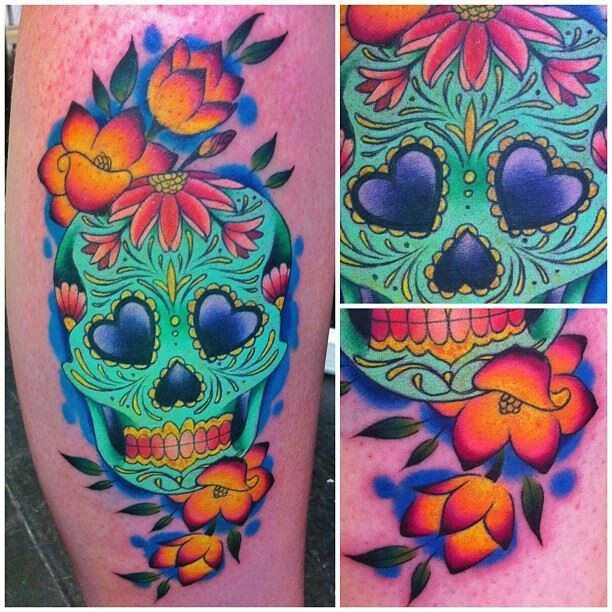 Colorful Roses And Sugar Skull Lady Tattoos On Side