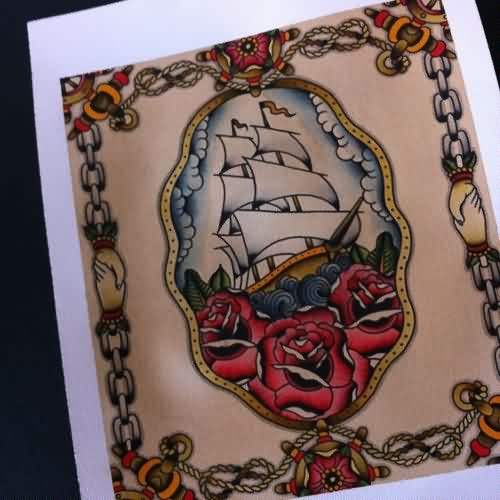 Colorful Ship And Red Roses Tattoos Card