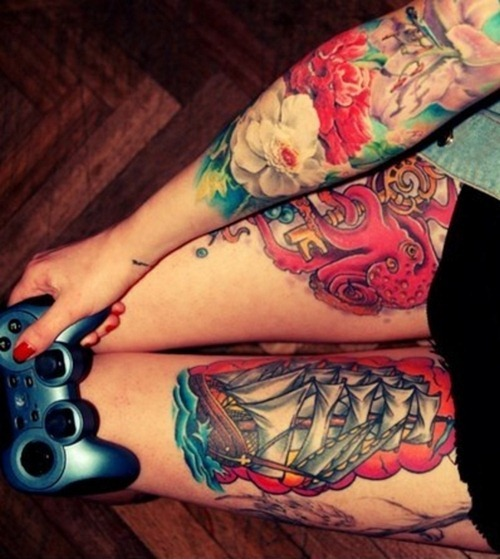 Colorful Sinking Ship Tattoo For Leg