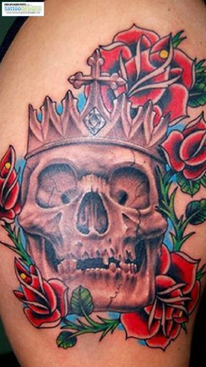 Colorful Skull With Flower Tattoo Image