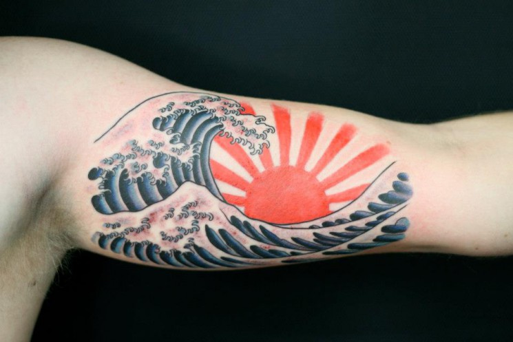 Colorful Sun Rays And Wave Tattoos On Sleeve