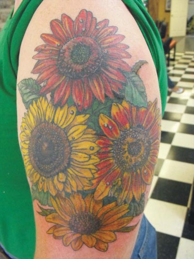 Colorful Sunflower Tattoos For Biceps
