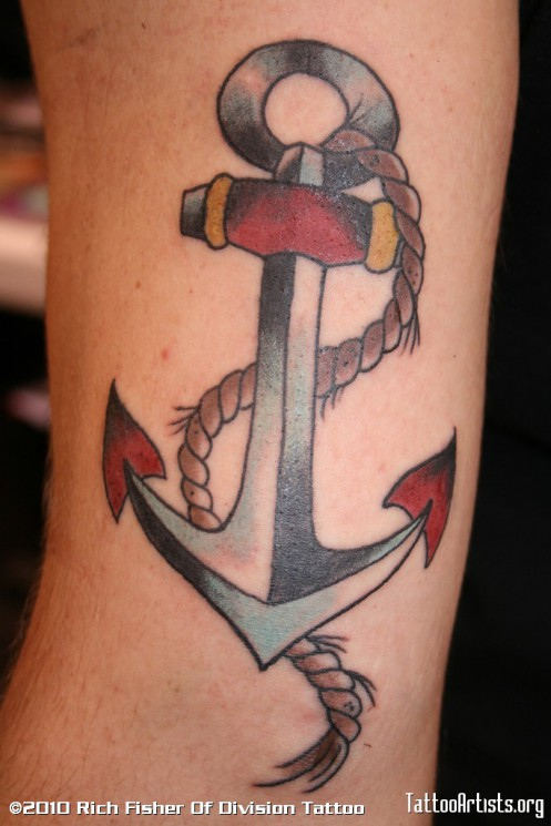 Colorful USN Anchor Tattoo On Arm
