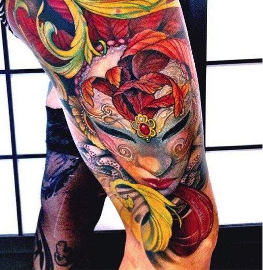 Colorful Video Games Tattoos On Right Leg