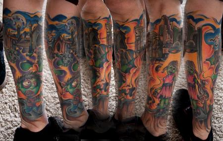 Colorful Zombie Sleeve Tattoos