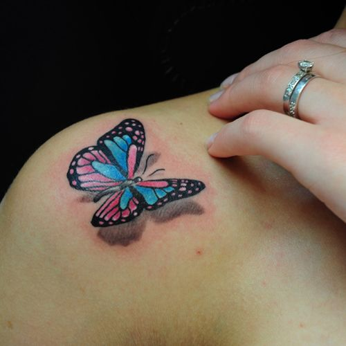 Coloured Butterfly Tattoo Design