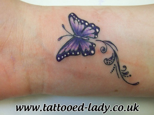 Coloured Small Butterfly Tattoo