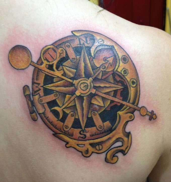 Compass Tattoo On Side For Men