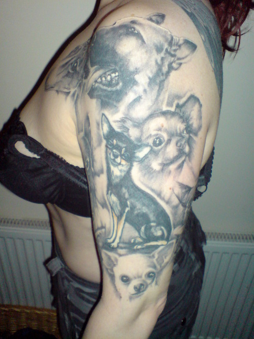 Cool Chinese Crested Dog Tattoo On Back