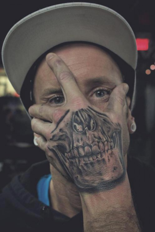 Cool Grey Ink Skull Tattoo On Face