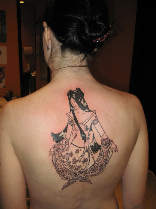 Cool Hippie Tattoo On Back