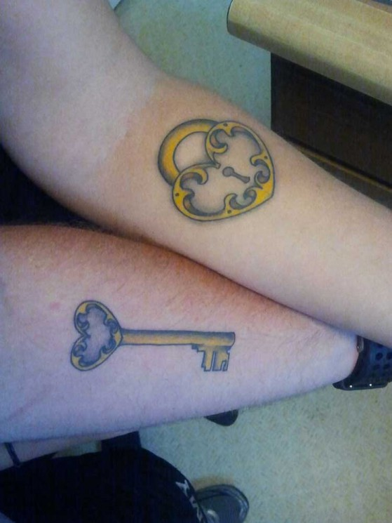 Cool Key And Lock Tattoo For Friends