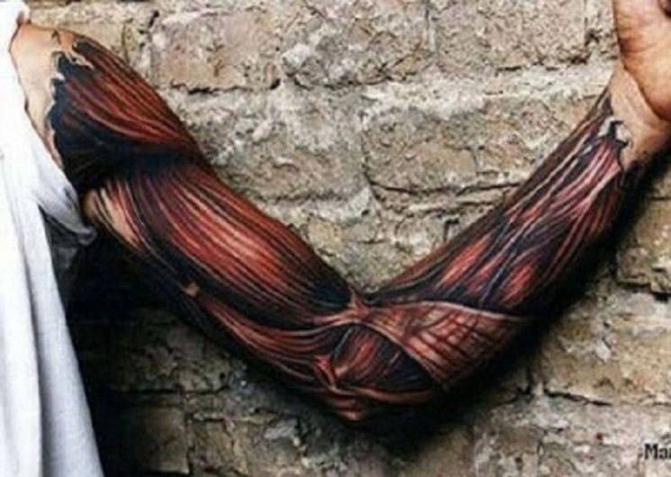 Cool Red 3D Muscle Tissue Tattoo On Muscles