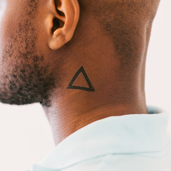 Cool Triangle Neck Tattoo For Guys