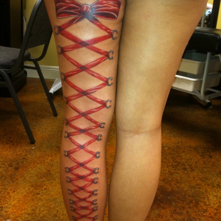 Corset Leg Tattoo Designs