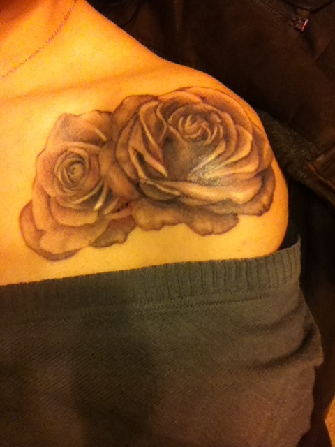Couple Of Grey Rose And Pocketwatch Tattoos