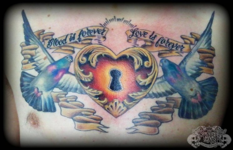 Couple Of Pigeon And Heart Tattoos On Chest