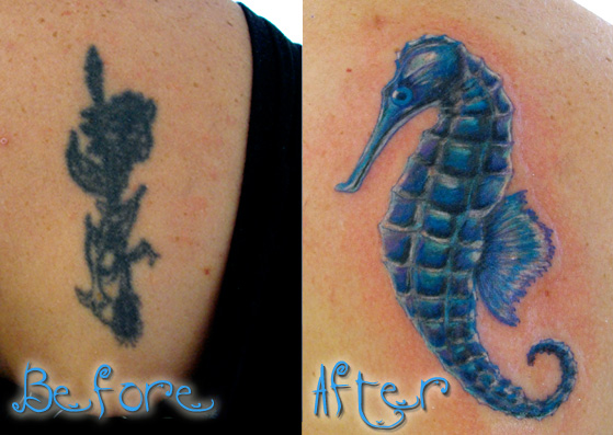 Cover Up Seahorse Tattoo