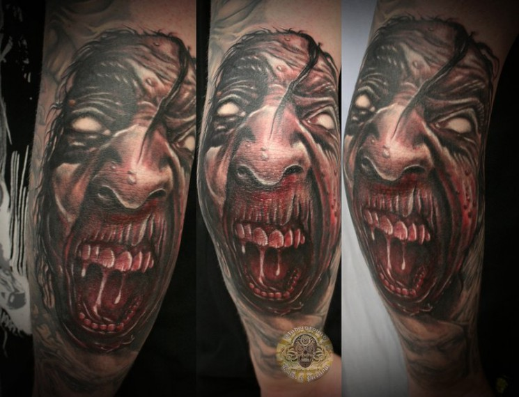 Crawling Demon Face Tattoo Image