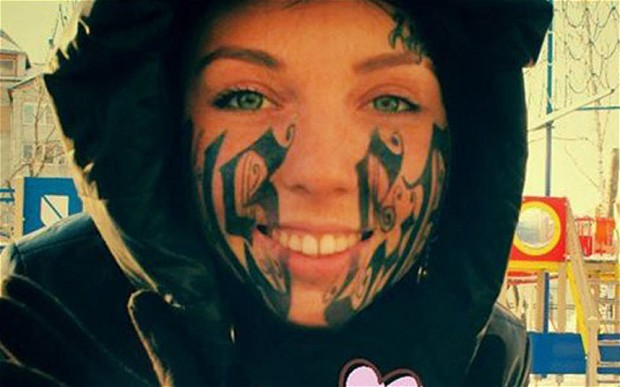Crazy Face Tattoo For Girls