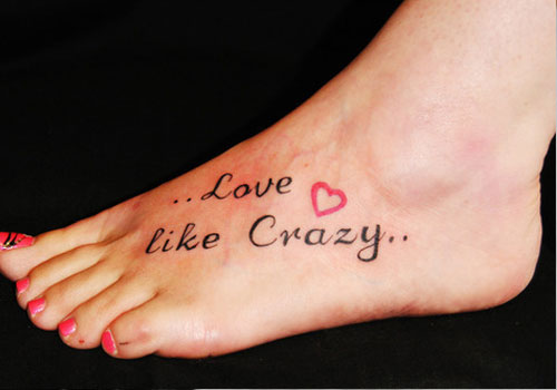 Crazy Words Tattoos On Foot