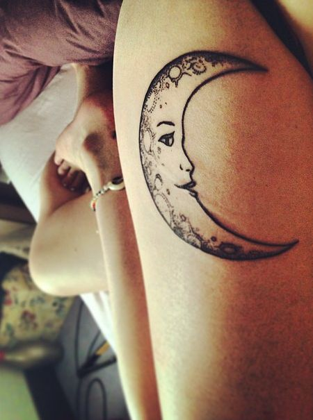 Crescent Moon Tattoos For Hot Girls