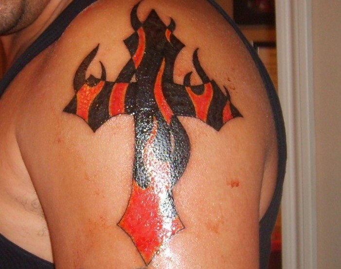 Cross And Flames Tattoos On Shoulder