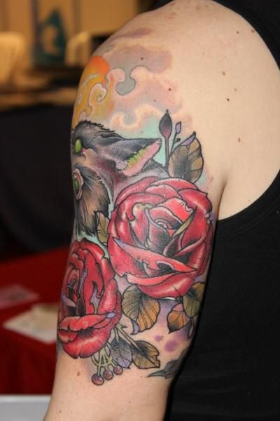 Cross And Roses Traditional Tattoos On Biceps