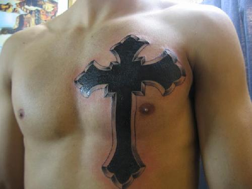 Cross And Wings Tattoo On Upper Back For Men