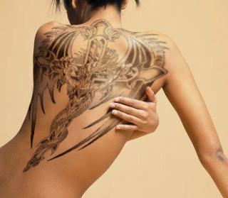 Cross Tattoo With Angel Wings On The Back