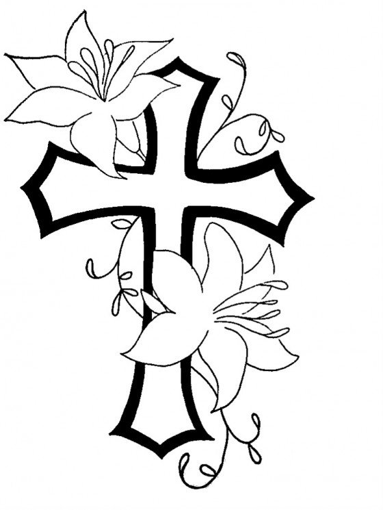Cross With Flowers Tattoo Design
