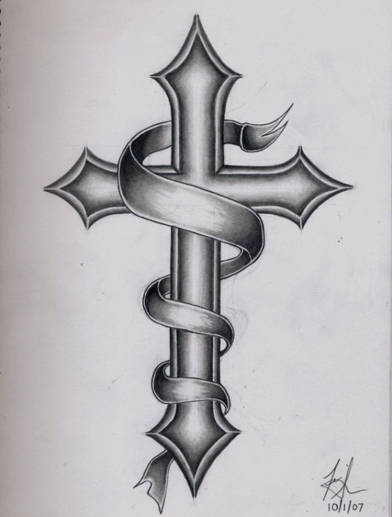 Cross With Names In Banner Tattoo Design