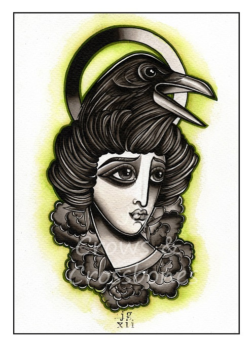 Crow And Crow Head Tattoos Print