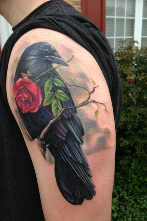 Crow And Red Rose Tattoos On Shoulder