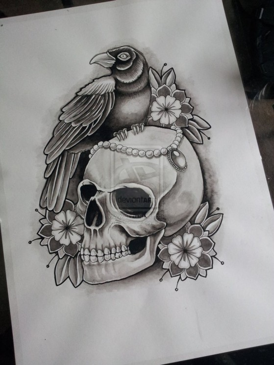 Crow And Skull Thing Tattoo Design