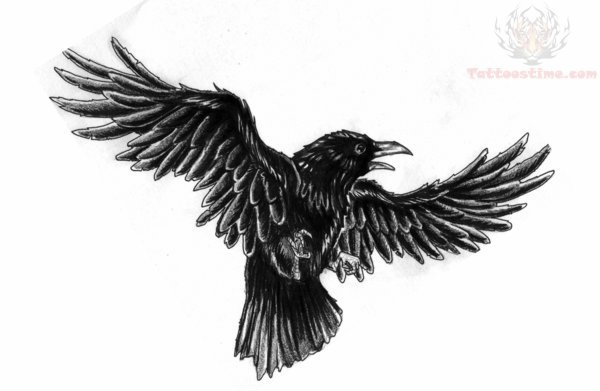Crow Flying Tattoo Design