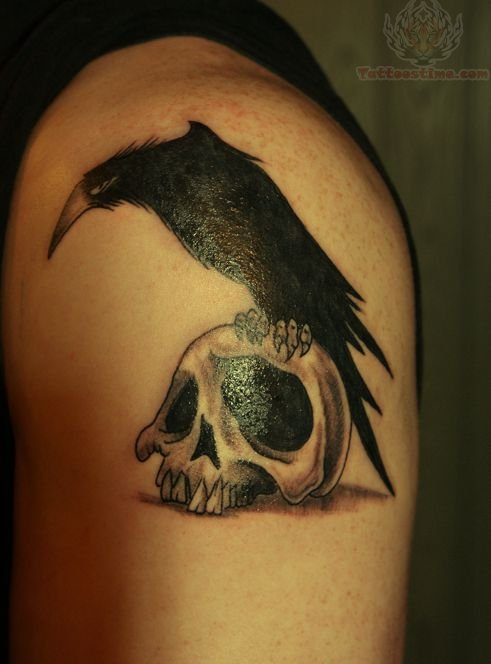 Crow On Skull And Leave Tattoos On Shoulder