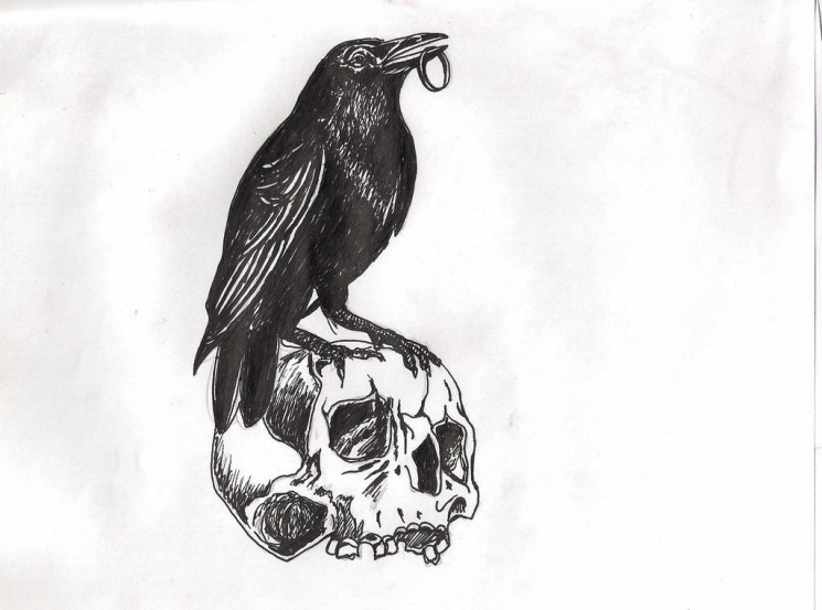 Crow Upon A Skull Tattoo Drawing