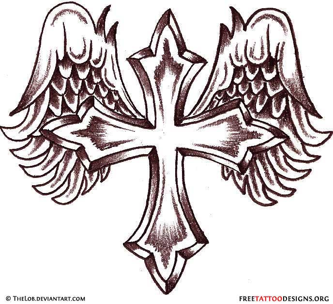 Crown Cross With Praying Hands Tattoo Design