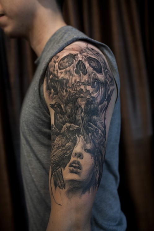 Crows And Skull Portrait Tattoos On Whole Back