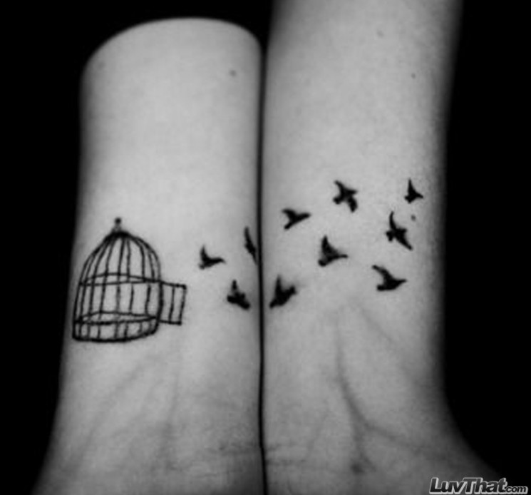 Crows Flying From Cage Tattoos On Wrist