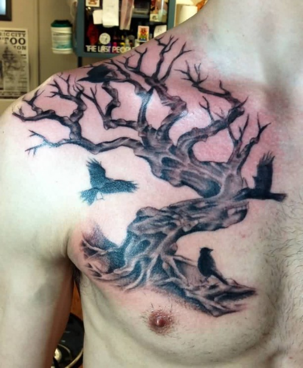 Crows On Ankh Tree Tattoo Model