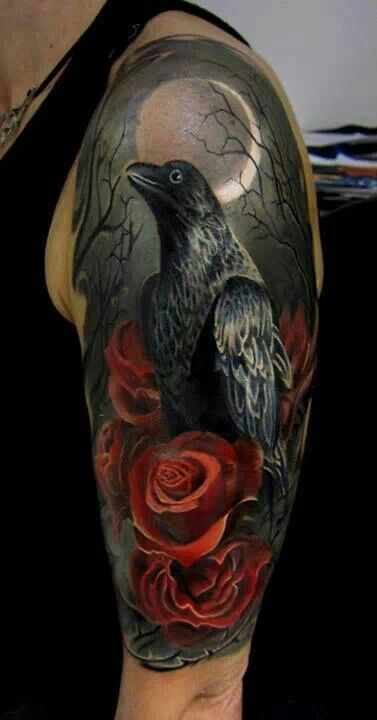 Crows Roses And Clock Tattoos Graphic
