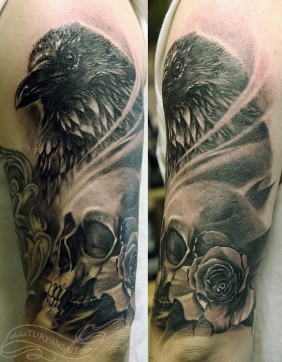 Crows Roses And Skull Tattoos